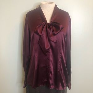 Kate Hill Merlot 100% Silk Blouse with tie Front